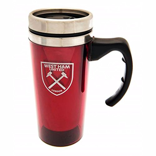 West Ham United FC Official Aluminum Crest Design Travel Mug (One Size) (Burgundy)