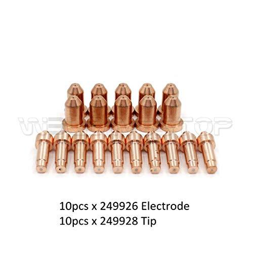 249928 Tip 40A 249926 Electrode for Miller Spectrum 625 X-TREME Cutter XT40 Torch PK-20 ()