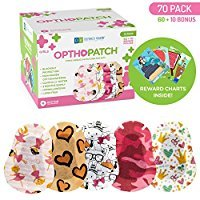 Kids Eye Patches - Fun Girls Design - 60 + 10 Bonus Latex Free Hypoallergenic Cotton Adhesive Bandages For Amblyopia and Cross Eye - 2 Reward Chart Posters - Optho-Patch by Defined Vision by Optho-Patch