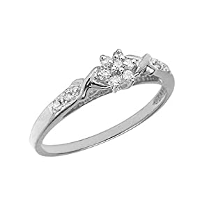 0.01 Carat ct Sterling Silver Round White Diamond Cluster Flower Infinity Twist Engagement Promise Ring