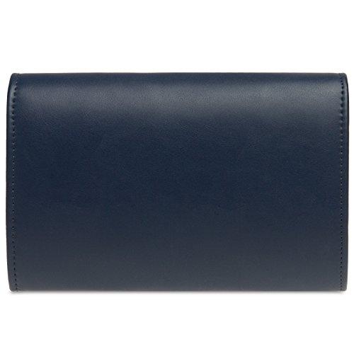 CASPAR TA353 Women Elegant Clutch Decoration Evening with Blue Metal Dark Bag rr61Twqf