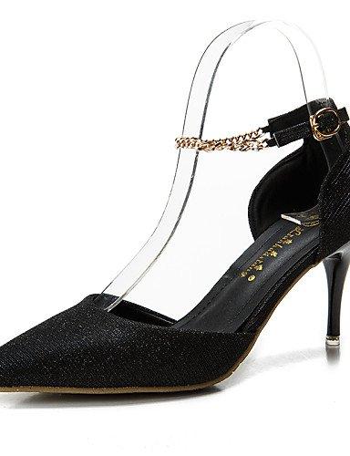 LFNLYX Zapatos de mujer-Tacón Stiletto-Tacones / Puntiagudos / Punta Cerrada-Sandalias-Vestido-Semicuero-Negro / Rosa / Plata / Gris / Oro golden