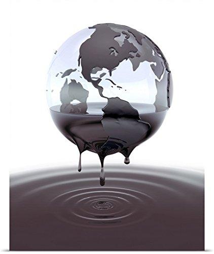 Great Big Canvas Poster Print entitled Cgi globe dripping crude oil
