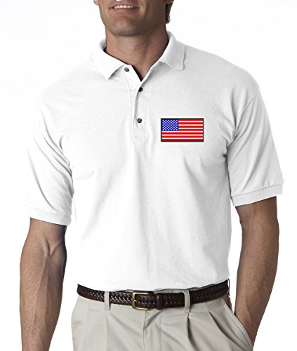 A2S American Flag Chest Logo USA Pride Embroidered Polo Shirt S-3XL 8 Colors - White - L
