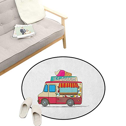 Truck Round Rug Living RoomArt Deco ,Ice Cream Truck Colorful Illustration Business Idea Cartoon Style Cutaway Vehicle, Playroom Super Soft Carpet Floor Mat 47