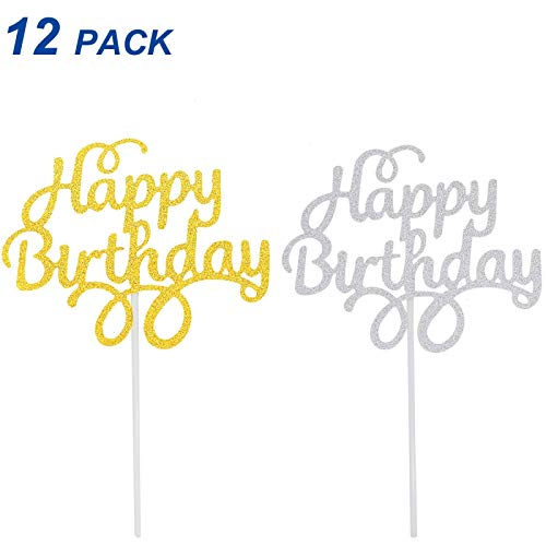 Timoo 12 PCS Happy Birthday Cake Topper Silver Glitter Gold Cake Decoration Supplies -