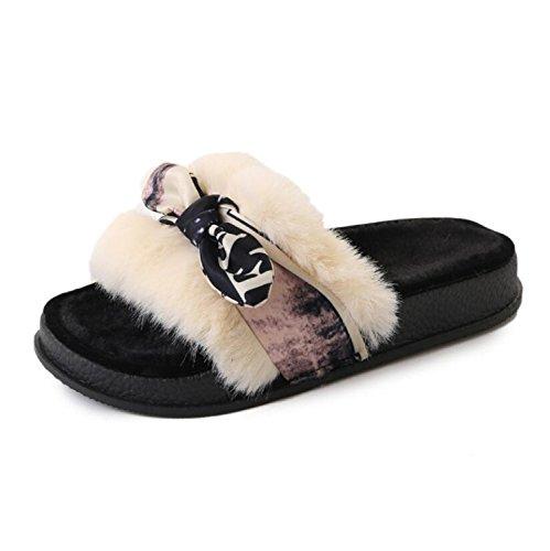 DANDANJIE Zapatillas de Deporte Comfort Flat Heel Slippers & Flip-Flops Bowknot Ribbon Tie Winter (Verde Negro Beige) Zapatos caseros Beige