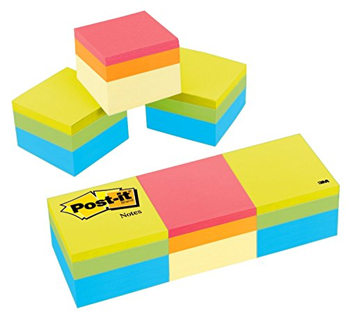 (Post-it Notes Cube, 1 7/8 in x 1 7/8 in, Green Wave and Canary Wave, 400 Sheets/Cube, 3 Cubes/Pack (2051-3PK))