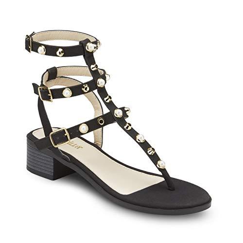 (Olivia Miller Studded T-Strap Block Heel Sandal Black)