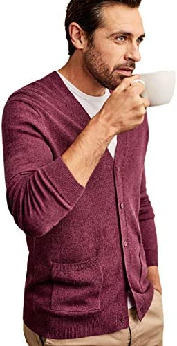 Woolovers Mens V Neck Soft Button Placket Top Cardigan Raspberry Marl M / Woolovers Mens V Neck Soft Button Placket Top Cardigan Raspberry Marl M