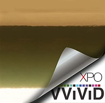 1//2 x 5ft VViViD Supercast Gold Conform Chrome Metallic Finish Stretch Vinyl Wrap Film Decal Sheet Roll 5559015348