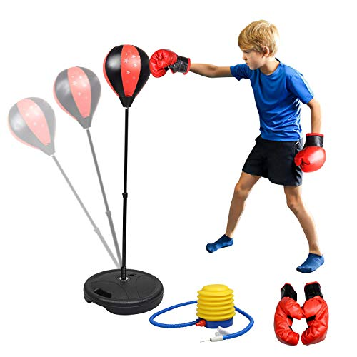 Adjustable Height in 70-105CM Childrens Boxing Set Free Standing Boxing Punch Ball Bag with Gloves and Pump for Kids Ages 4-10