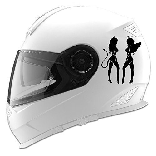 Sexy Girls Angel and Devil Silhouettes Auto Car Racing Motorcycle Helmet Decal - 5