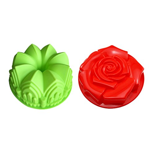 B Blesiya Crown & Flower Bundt Jelly Silicone Pastry Cake Mould Mold Baking Tins Pans