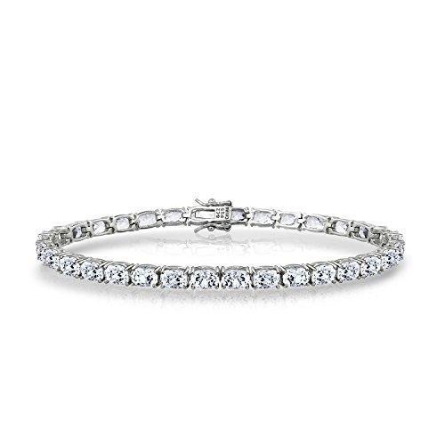 (Diamonbliss Sterling Silver Cubic Zirconia 100-Facet Emerald Cut Bracelet - Sterling Silver,7-1/4