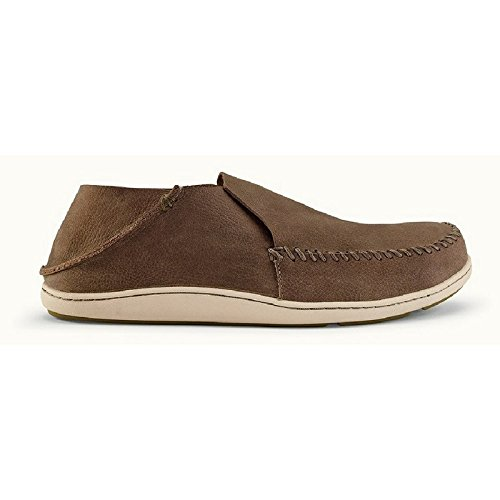OluKai Men's Akahai Leather Moc Toe Slip-On,Clay/Clay Leather,US 12 M