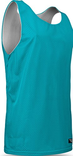 Mesh Game Football Jerseys - Game Gear Reversible Mesh Jersey, Basketball/Gym/Soccer Tank Top for Youth (13 Colors) AP993Y Teal/White