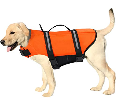 SAWMONG Dog Life Jacket Ripstop Adjustable Safety Pet Life Preserver Pet Flotation Life Vest for Small Medium Large Dogs(Orange, M)