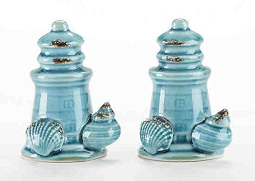 Delton Products 3.1 inches x 2.2 inches Porcelain Lighthouse Salt and Paper Shaker Set Kitchenware -