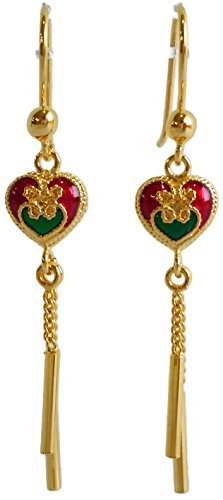 24k Yellow Gold Plated 45 mm Long Cute Enamel Heart Double Chains Drop Dangle Earrings
