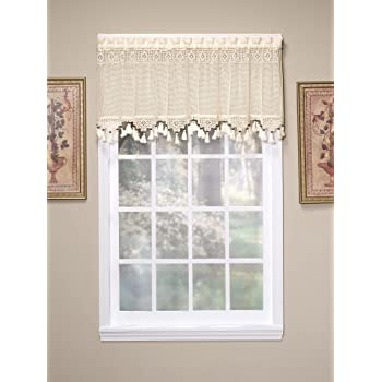 todayu0027s curtain gettysburg knitted 20inch crochet with beaded tassel valance