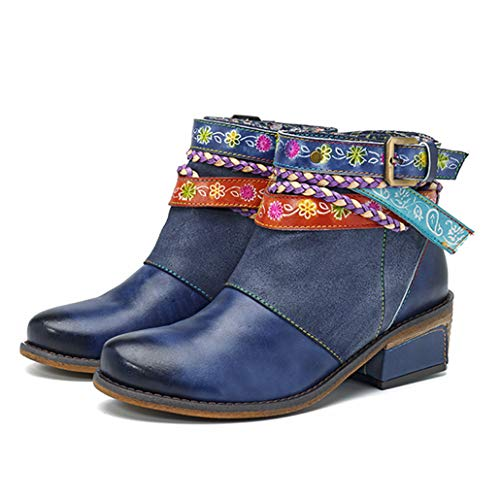Yaloee Women's Bare Boots Genuine Leather Vintage Bohemian Zipper Low Heel Ankle Boots