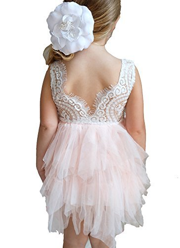 Flower Girl Dress - Lace with Pink or White Chiffon Tulle Tutu (6 Years, Pink) (Pop Apparel Pink)