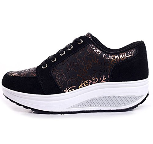 Sneakers Walking Orlancy Fitness Women's 3 Leather Shoes Black up Shoes Lace Platform Sports Fashion qYqBwCf