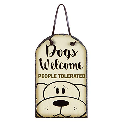 OHIO WHOLESALE, INC. Dogs Welcome People Tolerated Cream 8 x 5 Slate Rock Decorative Plaque