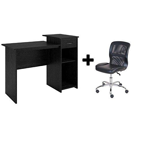 Mainstays Student Desk - Home Office Bedroom Furniture Indoor Desk - Easy Glide Accessory Drawer (Black ebony with Viny Task Chair) (Youth Desk Bedroom)