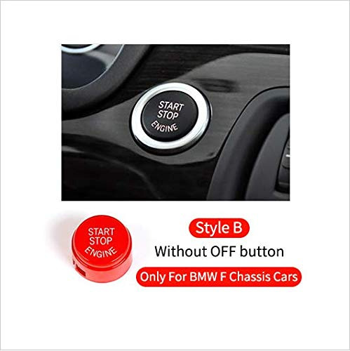 Ignition Starter Engine Start Stop Button Pushbutton ABS Cap Cover for BMW 1 2 3 4 5 7 Series X1 X3 X4 X5 X6 E,F,G Chassis (F/G Chassis Autos without OFF button, Red)