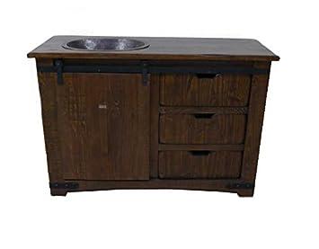 Brown Farmhouse Sliding Barn Door Single Sink Bathroom Vanity 50