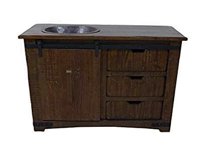Merveilleux Brown Farmhouse Sliding Barn Door Single Sink Bathroom Vanity (50 Inch)