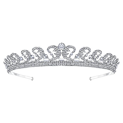 EVER FAITH Princess Inspired Royal Wedding Hair Crown Tiara Clear Austrian Crystal