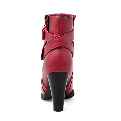 Toe AgooLar Low Heels Round Women's Red Closed High Pu Buckle Top Boots 8OrIqxO