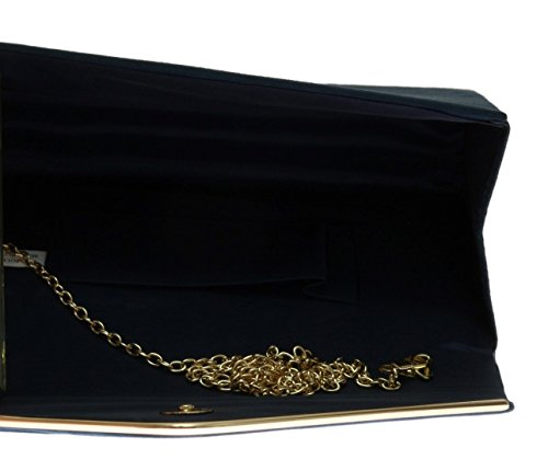 H&G Ladies Faux Suede Clutch Bag Envelope Metallic Frame Plain Design - Royal Blue Navy