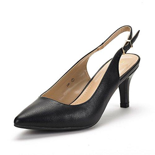DREAM PAIRS Women's LOP Black Pu Low Heel Pump Shoes - 11 M US