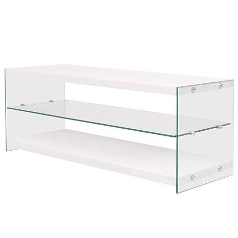 tuduo Mueble para TV De Cristal MDF Blanco Brillante diseño ...