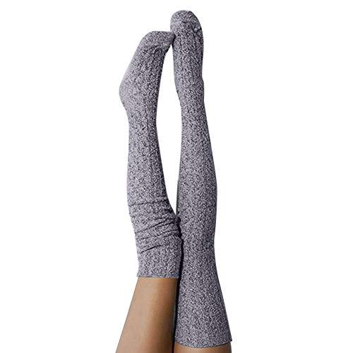 Womens Girls Thigh High Over The Knee Socks Warm Bandage Knit Crochet Long Cotton Leg Warmer Stockings (Gray-Knit) ()