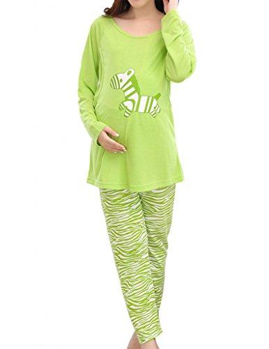 VENTELAN Cute Zebra Printed Pregnancy Maternity Striped Pajama Set Nightclothes