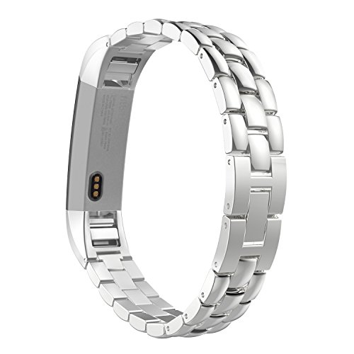 MoKo Fitbit Alta HR and Alta Band, Universal Stainless Steel Replacement Watch Bracelet Band Strap with Fold Over Clasp for Fitbit Alta / Fitbit Alta HR, Tracker NOT Included - SILVER by MoKo