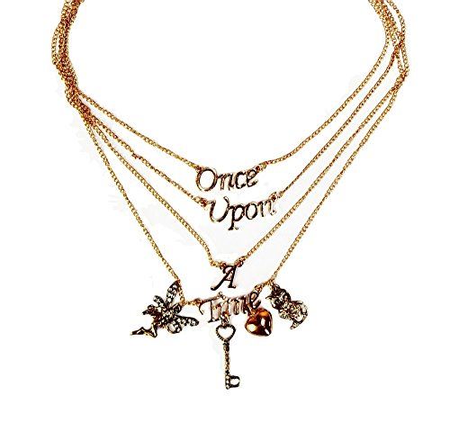 ONCE UPON A TIME Four Strand Multi-Layer Goldtone Charm NECKLACE