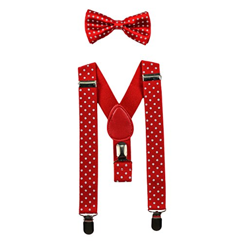 Baby Boy Dots - Baby Suspenders and Bow Tie Set (Elastic Adjustable--Fits Baby to Toddler) (Red with White Polka Dots)