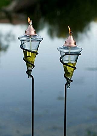 H Potter Glass Torches   Garden Patio Deck   Copper Tops   Set Of Two