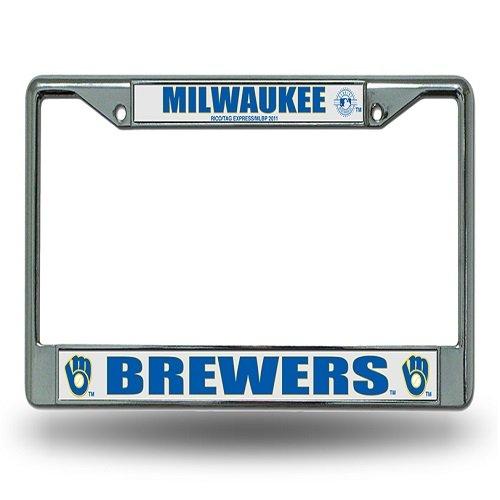MLB Milwaukee Brewers Ball & Glove Design Laser Chrome Frame (Mlb Milwaukee Car Brewers)
