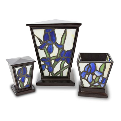 Iris Stained Glass - Medium Blue Cremation urn for ashes Iris Urn