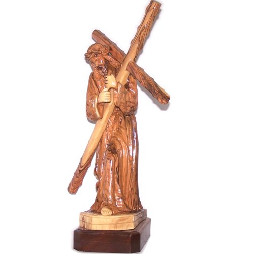 Extra Large Jesus carrying the Cross - Olive wood (55 cm or 22 Inches high) by Holy Land Market