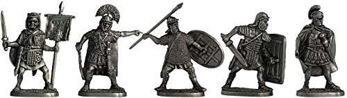 Set of 5 Romans Tin Toy Soldiers Metal Sculpture Miniature Figure Collection 40 mm (scale 1/43) (40-06)