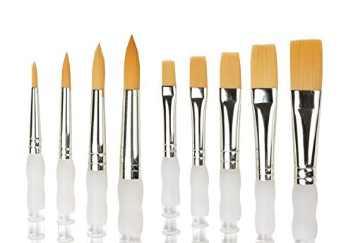 Soft Brush Royal Grip (Royal Brush SAX2 Soft Grip Flat Golden Taklon Fiber Long Handle Paint Brush Set, Assorted Size (Pack of 5))