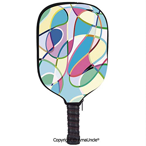 SCOXIXI 3D Pickleball Paddle Racket Cover Case,Odd Experimental Mix of Drawings Altering Active Motion States ArtworkCustomized Racket Cover with Multi-Colored,Sports ()